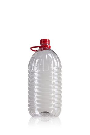 Botella PET 5000 ml con asa rojo boca 42/34