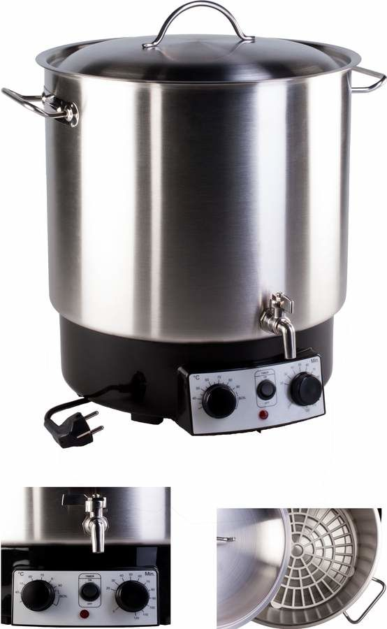 Stainless steel 30 litres pasteurizer with thermostat, timer and tap